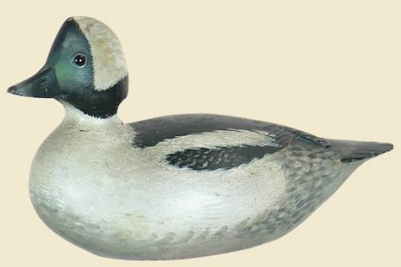 EARLY BUFFLEHEAD DRAKE DECOY CRAFTED CIRCA 1910-1912 BY RENOWNED CARVER A. E. (ELMER) CROWELL REALIZES $207,000 AT DECOYS UNLIMITED, INC.