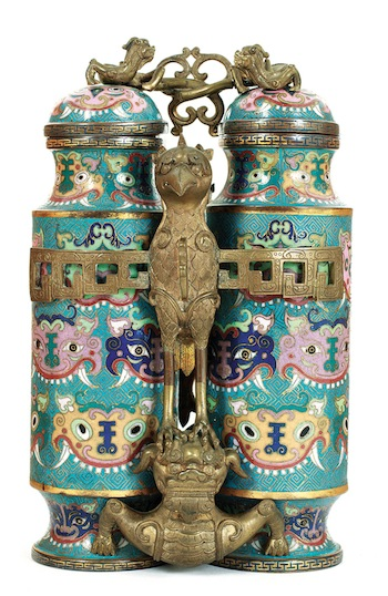 A rare Chinese cloisonné champion vase that will be up for auction on Saturday, September 7, 2013 (Charlton Hall)