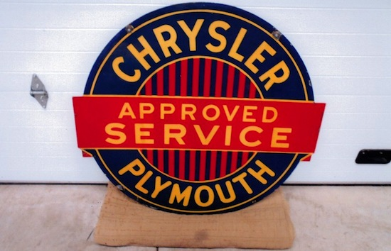 Chrysler Plymouth Approved Service double-sided porcelain die-cut sign, 42 inches by 44 inches ($4,620).