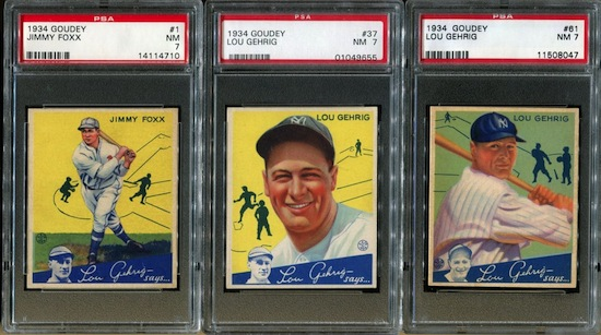 Complete set of 1934 Goudey baseball cards uniformly graded PSA 7 and including Lou Gehrig.