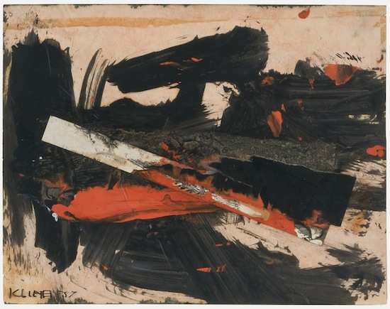 Untitled rediscovered abstract oil on paper collage by abstract expressionist Franz Josef Kline (est. $100,000-$150,000).