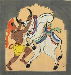 Nandalal Bose (1882-1966), Untitled (Bull Handler Haripura Poster) Tempera on Paper Estimate: $30,000-50,000 Executed in 1937; Commissioned by Mohandas K. Gandhi for the Indian National Congress Party meeting 1938, Haripura