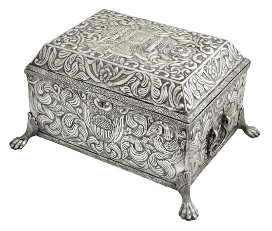 Unusual and large 19th century Peruvian silver box, weighing a staggering 12 pounds of silver.