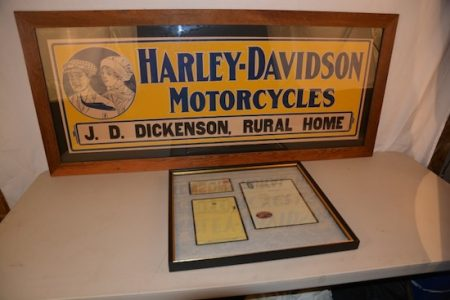 1916 HARLEY-DAVIDSON MOTORCYCLES SINGLE-SIDED CARDBOARD SIGN, RATED 9+, BRINGS $8,800 AT MATTHEWS AUCTIONS' AUG. 28 SALE IN IOWA