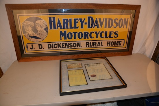 The top lot of the sale was this Harley-Davidson single-sided cardboard sign, rated 9+ ($8,800).