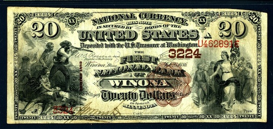 First National Bank of Winona (Winona, Minn.), Charter 3224 $20 brown back rarity. Fr#496, PMG graded Very Fine 25.