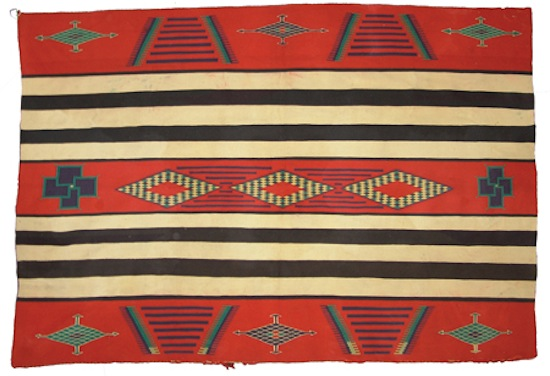 Late classic 2nd phase variant Germantown chief's blanket, 80 inches by 55 ½ inches ($8,625).