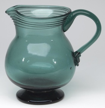 Rare freeblown pitcher, probably made by the Willington (Conn.) Glass Works circa 1815-1850, 6 5/8 inches tall (est. $10,000-$20,000).