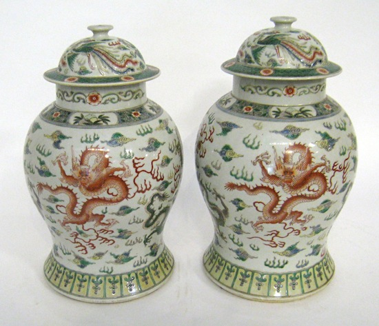 Pair of 16 ½ inch tall vases with dramatic Ming-style dragons swirling below two Phoenix birds