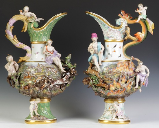 Meissen armorial covered urns, intricately decorated, probably given as gifts by the Princess of Sweden (est. $10,000-$15,000).