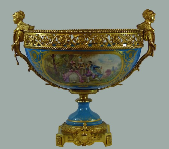 Large Sevres French porcelain ormolu gilt bronze mounted centerpiece, made circa 1763 (est. $10,000-$15,000).
