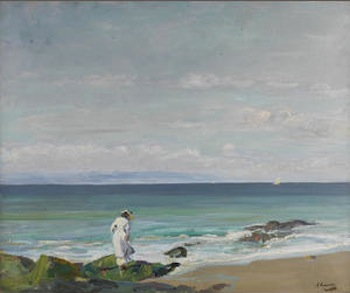 Sir John Lavery R.A., R.S.A., R.H.A. (1856-1941) The New Moon, Moonrise  signed 'J Lavery' (lower right); further signed, titled and dated 'THE NEW MOON/MOONRISE/JOHN LAVERY/09' (verso) oil on canvas 63.7 x 76.7 cm. (25 1/8 x 30 1/4 in.)