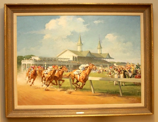 "Oil painting by Haddon ""Sunny"" Sundblom (Am., 1899-1976), titled 1914 Kentucky Derby ($17,700)."