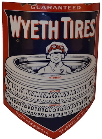 Wyeth Tires single-sided porcelain curved sign with boy in early driving gear graphics, rated 9+ (est. $20,000-$25,000).
