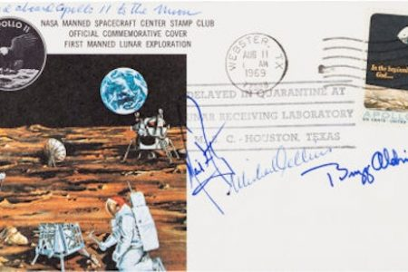 Apollo 11 Flown Crew-Signed Commemorative Cover for Heritage Auction
