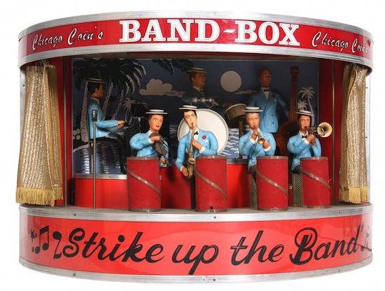 """Chicago Coin's Band Box antique jukebox orchestra speaker reading """"Strike Up the Band"""" ($7,670)."""