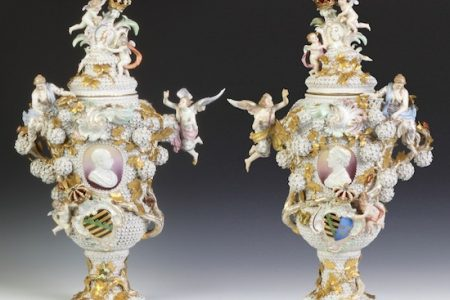 SPECTACULAR PAIR OF MEISSEN ARMORIAL COVERED URNS BRINGS $201,250 AT COTTONE AUCTIONS' FALL FINE ART & ANTIQUES AUCTION HELD OCTOBER 4-5