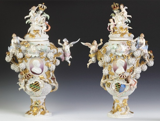 The top lot of the auction was this spectacular pair of antique Meissen armorial covered urns ($201,250).