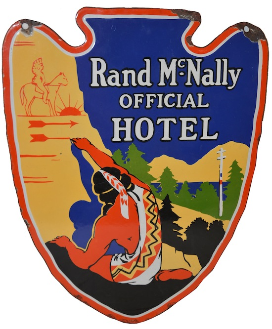 Rand McNally Official Hotel double-sided porcelain die-cut sign with Indian graphics, rated 9 ($29,700).
