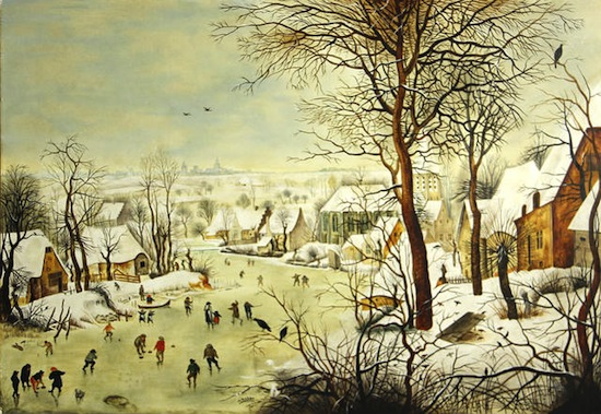 Lot 5009 AFTER PIETER BRUEGHEL THE ELDER Winter landscape with skaters and a bird trap 15 1/2 x 22 1/2in