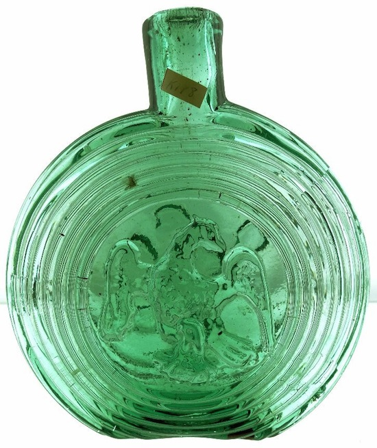 New England Glassworks concentric ring eagle flask, 7 inches tall, in the rare pint size.