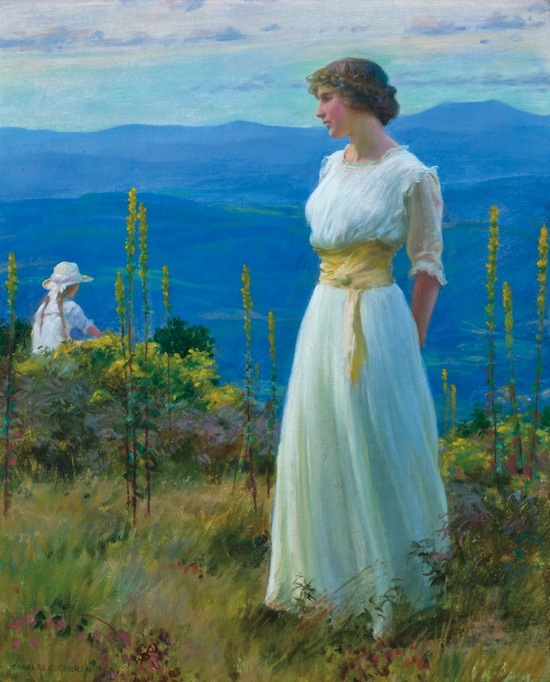 The top lot of the sale was this oil on canvas by Charles Courtney Curran, titled Far Away Thoughts ($192,000).
