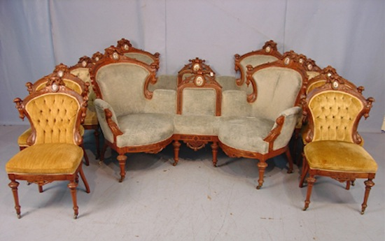 Ten-piece walnut Victorian parlor suite by John Jelliff (circa 1870), with two sofas and eight side chairs.