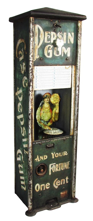 Pepsin Gum embossed tin dispenser, a coin-op taking one penny for gum and fortune ($57,000)