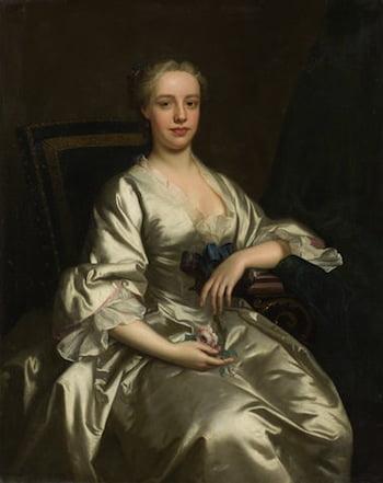 THOMAS HUDSON (Devon 1701-1779 Twickenham) Three-quarter length portrait, called Flora MacDonald 126 x 101 cm. (49 5/8 x 39 3/4 in.)