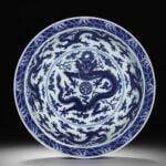 Imperial blue and white 'dragon' dish for Bonhams Hong Kong Auction