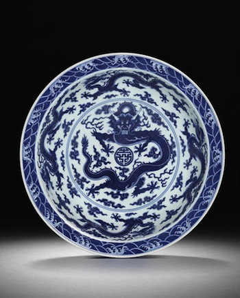 Large Imperial blue and white 'dragon' dish Qianlong seal mark and of the period. 44.8cm diam.