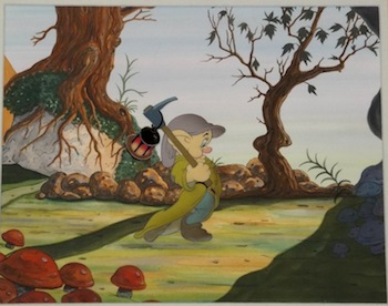 Dopey production cel (from Snow White and the Seven Dwarfs) on hand-prepared background.