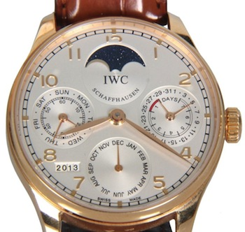 Stunning International Watch Company perpetual calendar 18kt rose gold men's wristwatch (est. $15,000-$20,000).