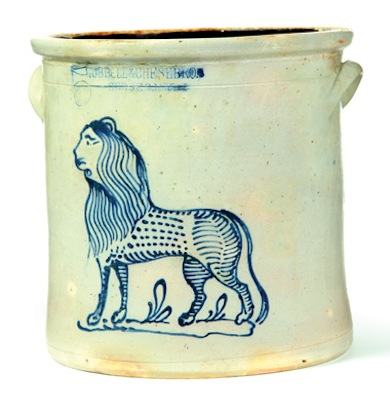 "Lot 639 at Garths January 4, 2014: A STONEWARE CROCK.  Impressed mark for Hubble and Chesebro, Geddes, New York, 2nd half-19th century. Five-gallon crock with a brushed cobalt standing lion with flowing mane. Minor rim flakes. 12.5""h.  Estimate $ 15,000-20,000"