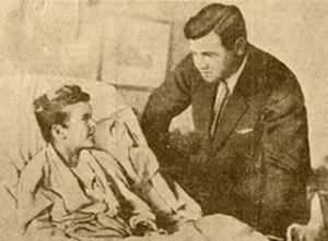 Archival newspaper image of Babe Ruth visiting Little Johnny Sylvester's bedside on October 11, 1926.