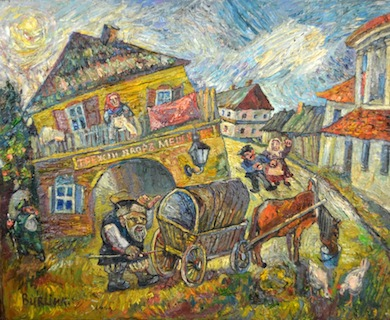 Two original works by Russian artist David Burliuk, including this townscape, will be sold