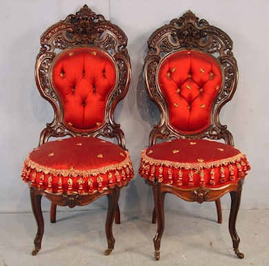 Pair of J. &. J.W. Meeks laminated rosewood parlor chairs in the Henry Ford pattern.