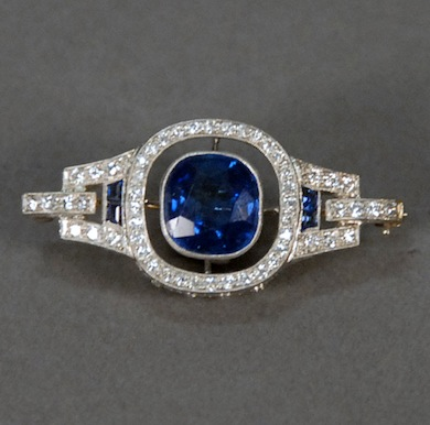 Anton Horvat platinum, sapphire and diamond brooch with 6-carat center sapphire ($108,000).