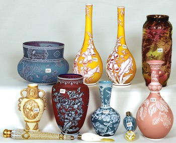 The Riegers' interest in English cameo glass pieces, like these shown, began while on a trip to England in the 1960s.