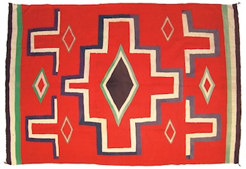 Late 19th century Germantown fine weave blanket with cross pattern, 54 inches by 79 inches.