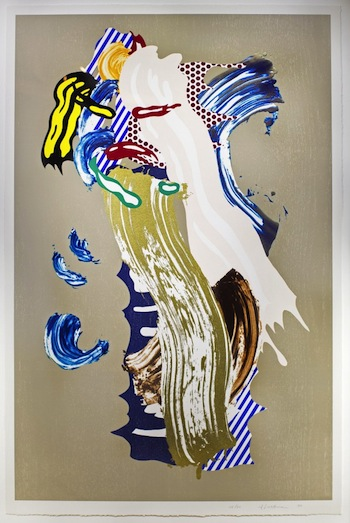 Color lithograph by Roy Lichtenstein titled Blonde (1989), from the artist's Brushstroke Series (est. $8,000-$12,000).