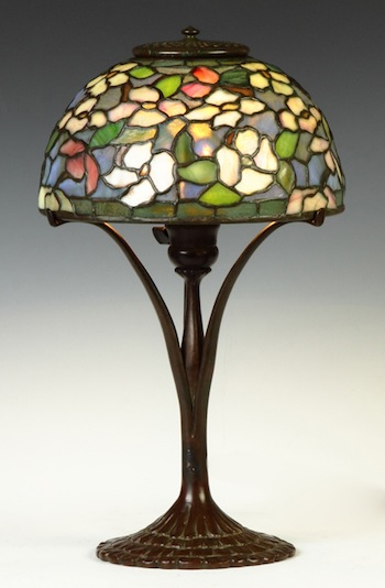 "Tiffany Studios ""Dogwood"" Table Lamp.  Dimensions: 18""h, shade diameter 10"".  Provenance: A Private Collection.  Estimate: $20,000-$30,000."