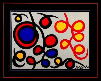 Bold original gouache painting by Alexander Calder, titled Loops Filled In ($78,200).