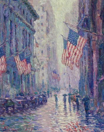 Oil on canvas by Laurence Campbell (Am., b. 1939), titled Wall Street (est. $40,000-$60,000).
