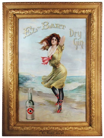 El Bart Gin tin sign with original frame, copyright 1905 by Wilson Distilleries ($51,300).