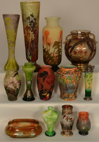 Fans of French cameo glass pieces will be thrilled with the selection and variety in the auction.