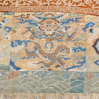 A rare 17th century transitional Ming-Qing dynasty large wall hanging