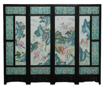 19th CENTURY CHINESE PORCELAIN SCREEN COMPRISING FOUR LARGE FAMILLE ROSE PANELS, HITS $121,000 AT ELITE DECORATIVE ARTS AUCTION, MARCH 29th