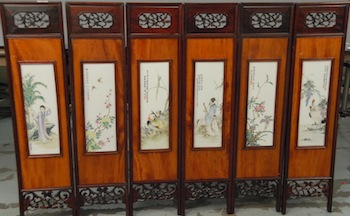Set of six 19th century Chinese porcelain screen panels, with each panel famille rose ($57,600).