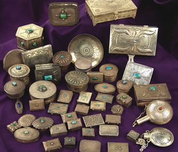 OUTSTANDING COLLECTION OF 40 HAND-WROUGHT, NAVAJO-MADE SILVER PILL, JEWELRY AND TRINKET BOXES SELLS FOR $9,200 AT ALLARD AUCTIONS